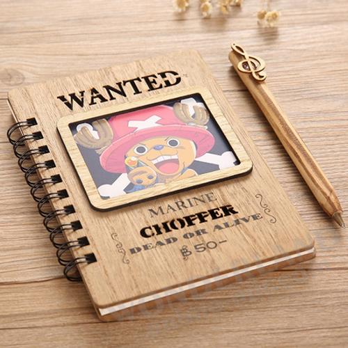 Аниме блокнот Ван Пис (Тони Тони Чоппер) в деревянной обложке ретро (в комплекте ручка с объемной фигуркой) / One Piece (Tony Tony Chopper)