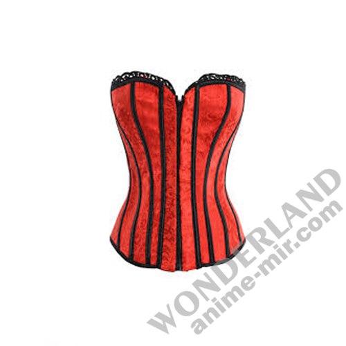 Корсет красный с черным кабаре