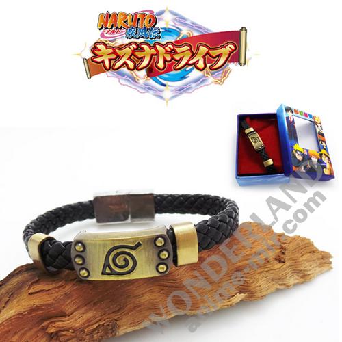 Аниме браслет Наруто Каноха с пряжкой из темного золота
