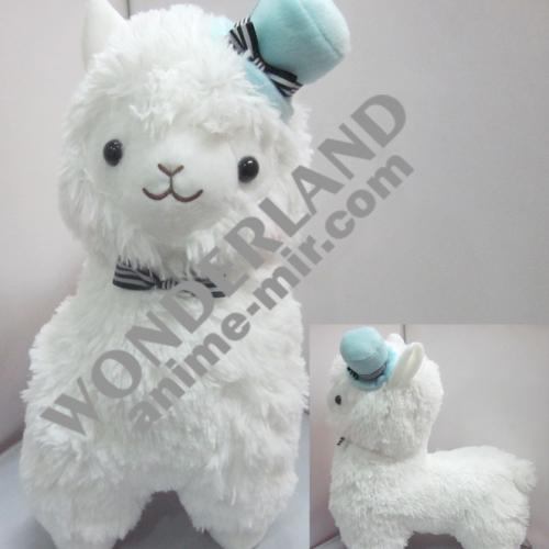 Плюшевая игрушка Альпака в шляпке белая (20/35/45 см)