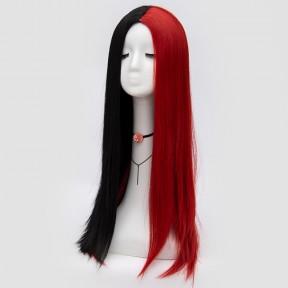 Косплей парик черно-красный 65см