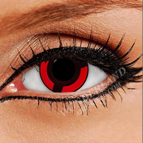 Цветные линзы шаринган Изуна Учиха (черно-красные)