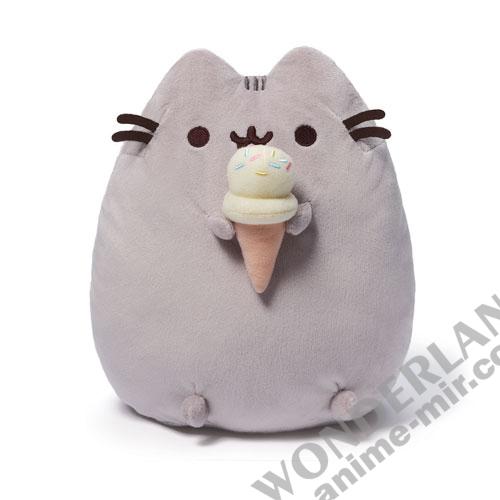Плюшевая игрушка кот Пушин с мороженым (15/25см)
