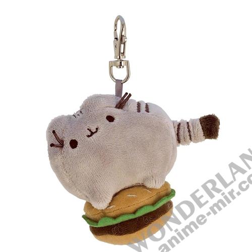 Плюшевый брелок кот Пушин на гамбургере