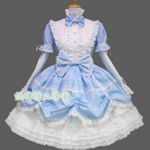 Косплей костюм Лолита (бело-голубой)