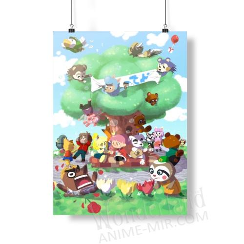 Плакат Энимал кроссинг (У дерева)