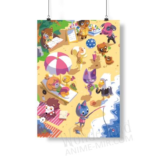 Плакат Энимал кроссинг (На пляже)