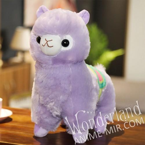 Плюшевая игрушка Альпака фиолетовая (35 см) с седлом