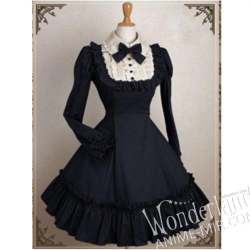 Лолитное чёрное платье горничной в стиле ретро, с бантом, с длинными рукавами