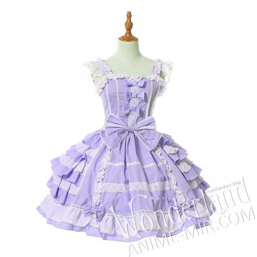 Косплей лолитное костюм-платье (бело-сиреневый)