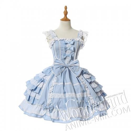Косплей лолитное костюм-платье (бело-голубой)