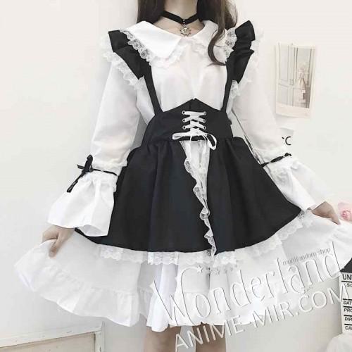Лолитное чёрно-белое платье горничной с бантом и с длинными рукавами