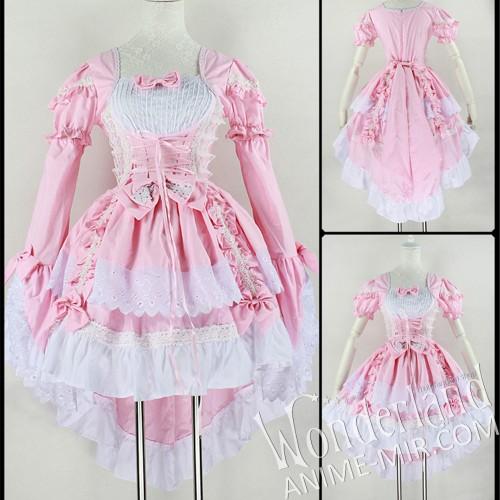 Косплей костюм- платье Лолита (розово-белый)