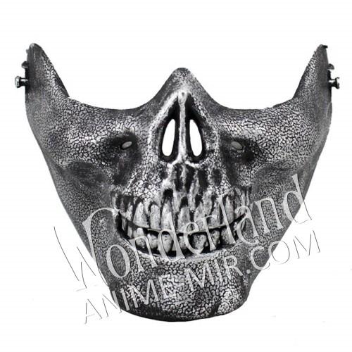 Маска череп серый металлик скелета (рот)