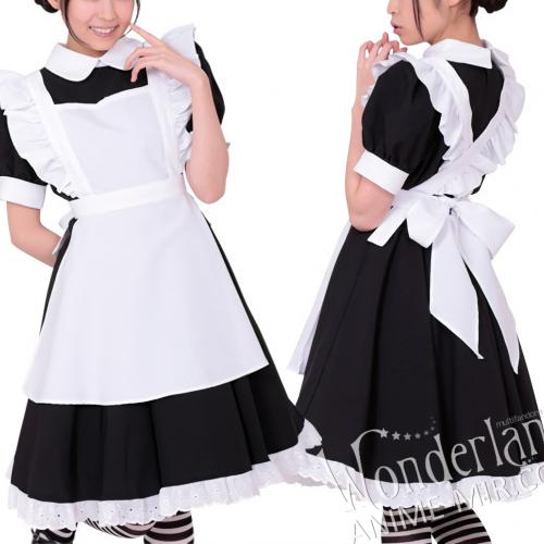 Косплей костюм горничной длинный (черное платье Алисы)