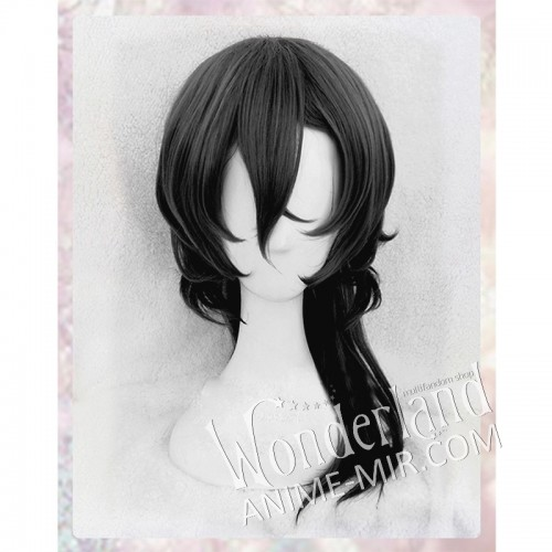 Косплей парик черный (с хвостиком)