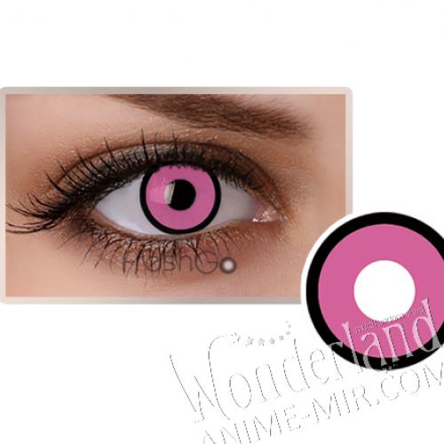 Цветные линзы темно-розовые с чёрным краем (розовые)
