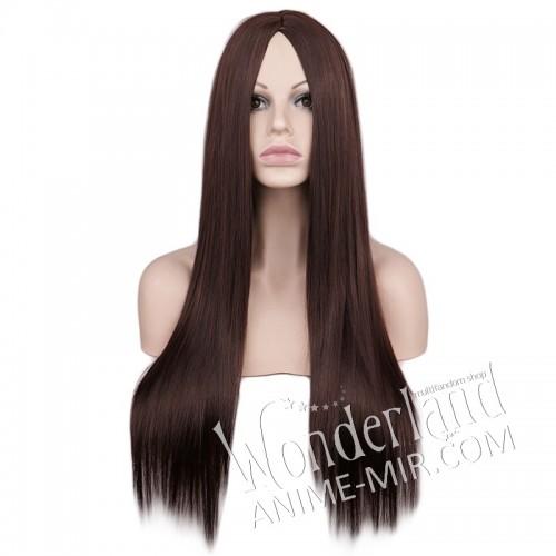 Косплей парик темно-коричневый без чёлки 70см