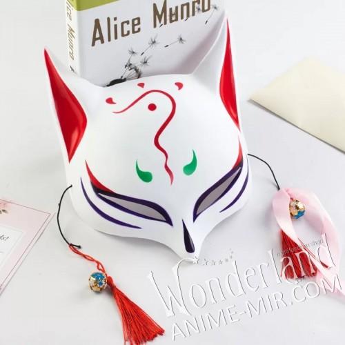 Японская карнавальная маска лисы кицунэ (большая бело-красная)