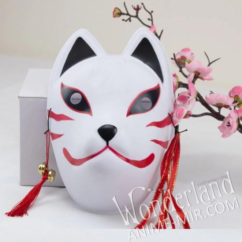 Японская карнавальная маска лисы кицунэ (большая,красно-чёрная)