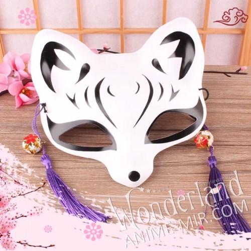 Японская карнавальная маска лисы кицунэ (маленькая,черная)