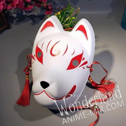 Японская карнавальная маска лисы кицунэ (большая,красная с виртушкой)