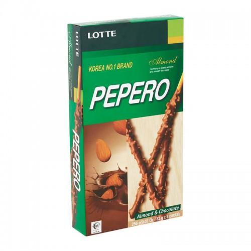 Палочки поки Пеперо (в глазури со вкусом шоколадного печенья  с миндалём Almond ) / Pocky Pepero Lotte White Cookie Almond