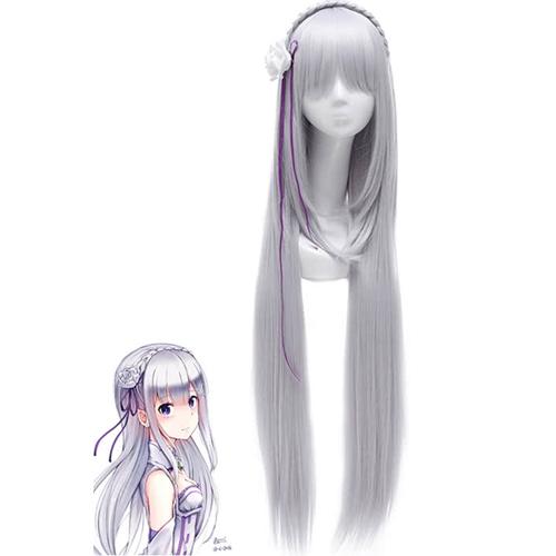 Косплей парик серебряный Ре:зеро Эмилия 100 см
